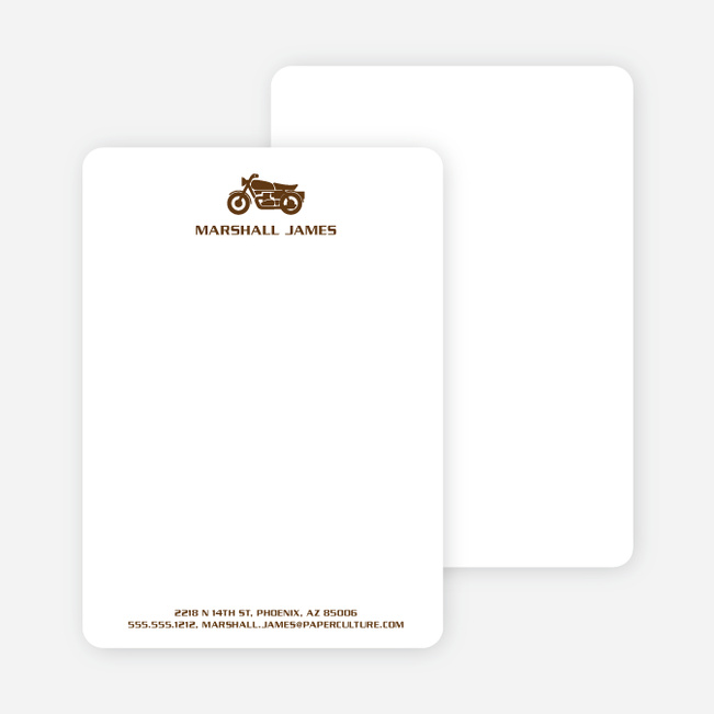 Motorcycle Personalized Stationery and Notecards - Chocolate