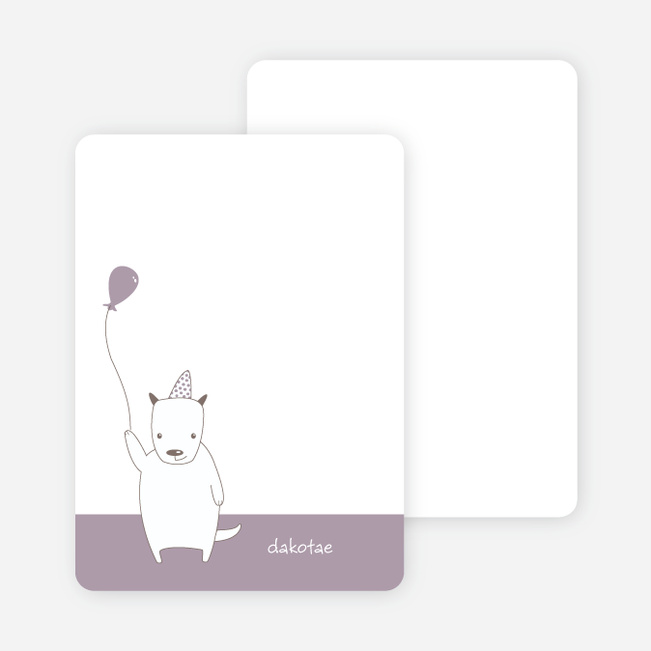 Note Cards: 'Dog Themed Photo Invitation' cards. - Light Eggplant
