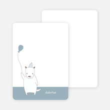 Note Cards: 'Dog Themed Photo Invitation' cards. - Dusty Blue