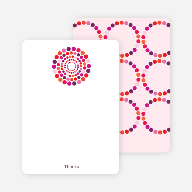 Note Cards: 'Dots Baby Shower Invitations' cards. - Fuchsia