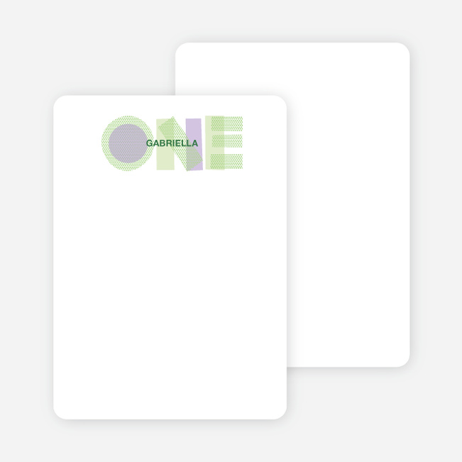 Note Cards: 'First Birthday Photo Invitations' cards. - Light Lime