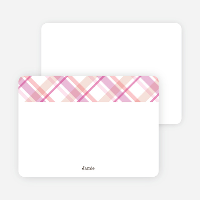 Note Cards: 'Mad Plaid Multis' cards. - Cotton Candy