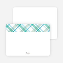 Note Cards: 'Mad Plaid Multis' cards. - Aquamarine
