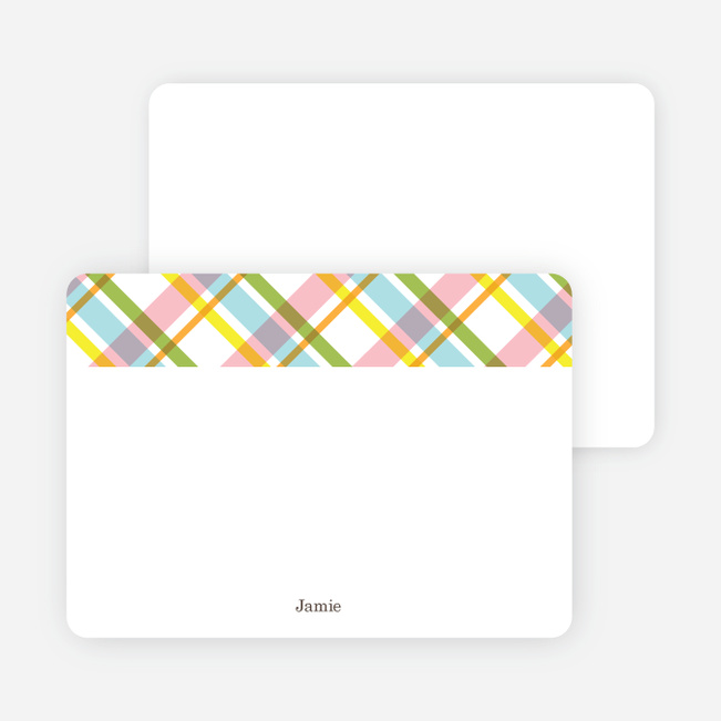 Note Cards: 'Mad Plaid Multis' cards. - Asparagus