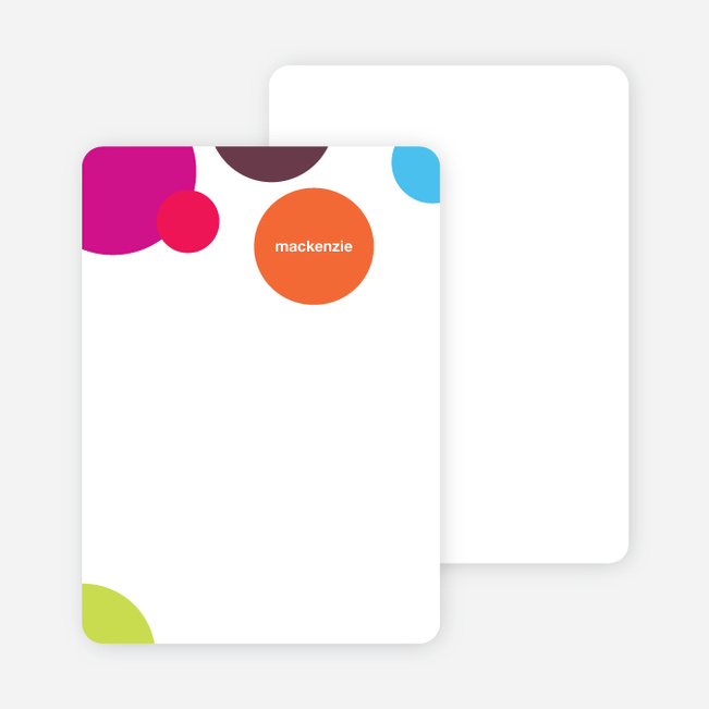Notecards for the 'Circles Baby Announcements' cards. - Multi
