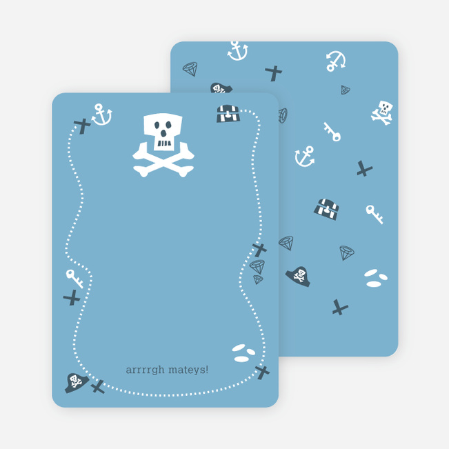 Personal Stationery for Blue Pirate Modern Birthday Invitation - Powder Blue