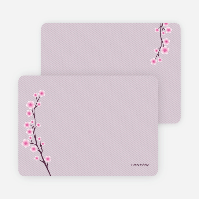 Personal Stationery for Cherry Blossom Modern Baby Announcement - Royal Purple