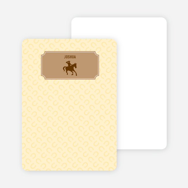 Personal Stationery for Cowboy Birthday Invitation - Chocolate