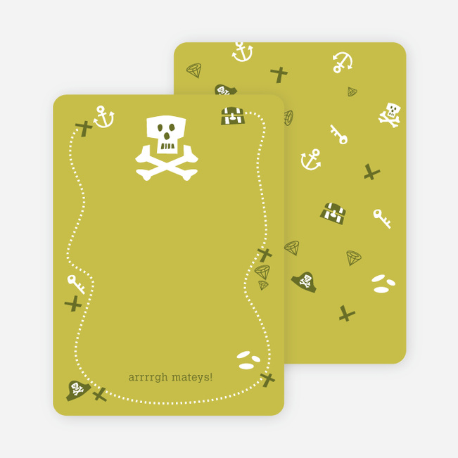 Personal Stationery for Green Pirate Modern Birthday Invitation - Pale Celadon
