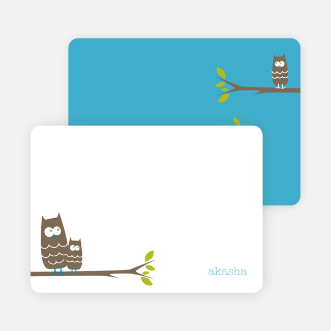 Personal Stationery for Wise Owl Modern Birthday Invitation - White