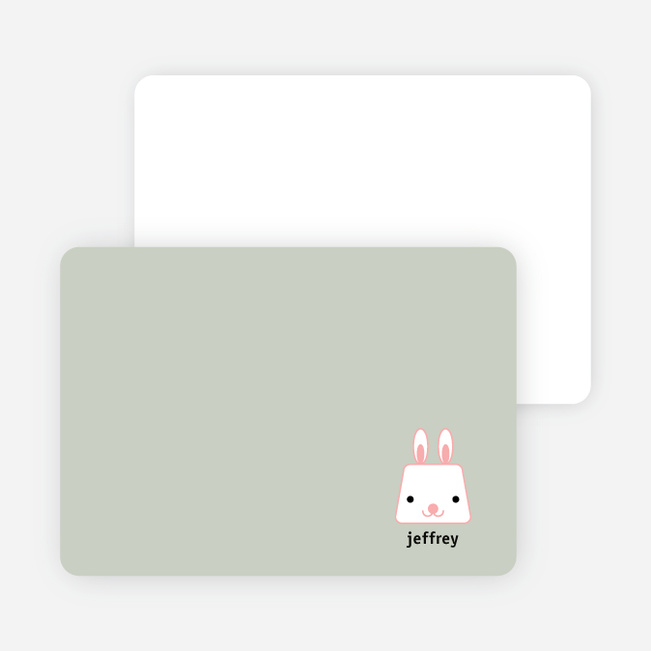 Rabbit Stripe Stationery and Note Cards - Olive