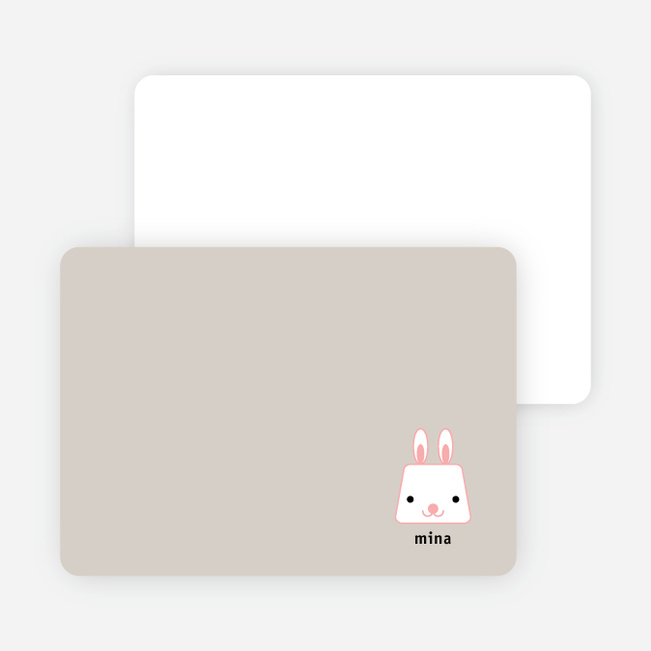 Rabbit Stripe Stationery and Note Cards - Baby Beige