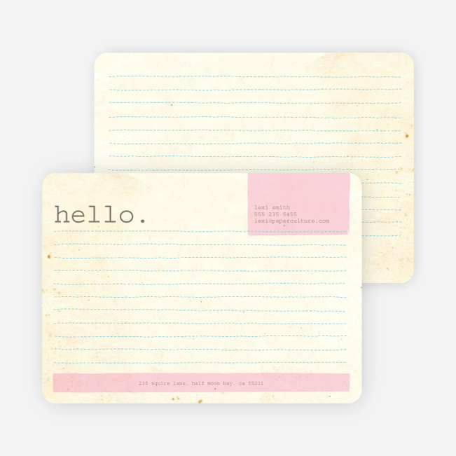 Rustic Paper Stationery - Pink Chalk