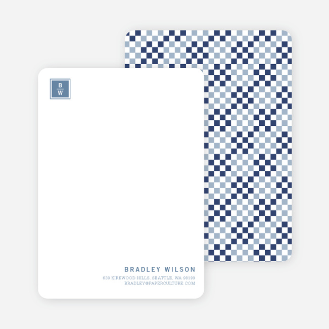 Square Block Initials Stationery - Navy Blue