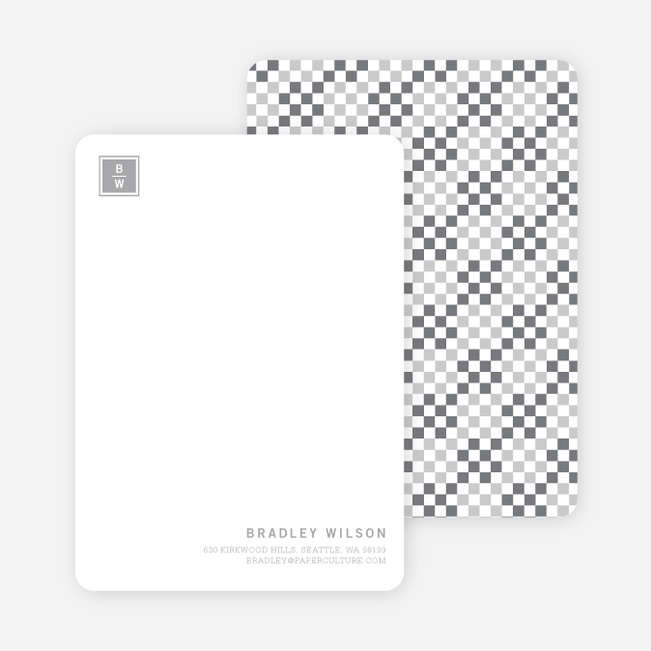 Square Block Initials Stationery - Silver Smoke