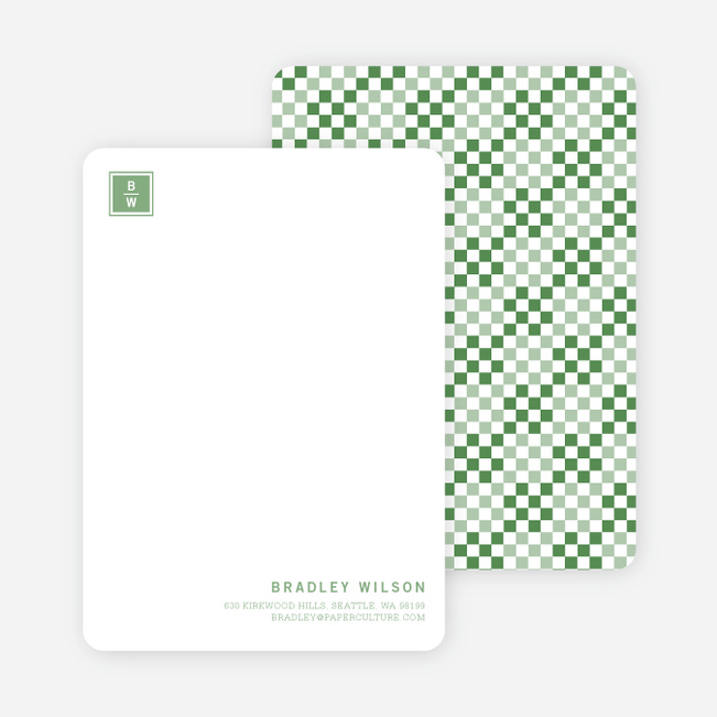 Square Block Initials Stationery - Pine