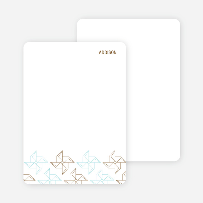 Stationery: 'Origami Pinwheel' cards. - Russet Brown