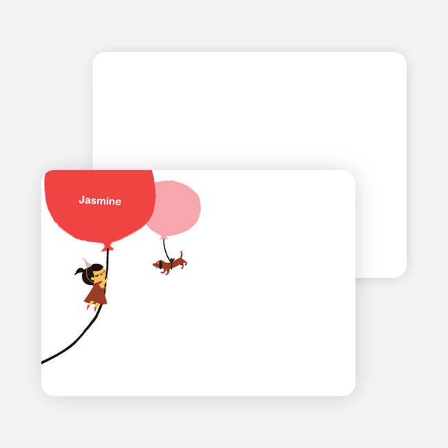 Stationery: 'Red Balloon, Party Soon' cards. - Dusty Pink