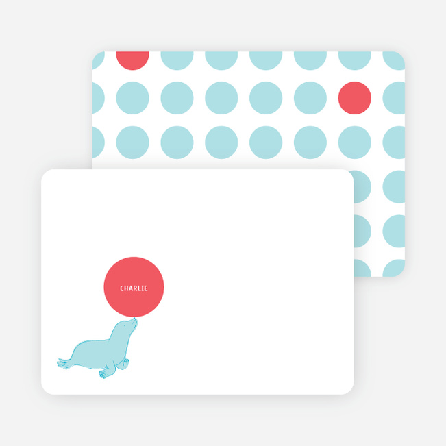 Stationery: 'Sammie Seals' cards. - Azure