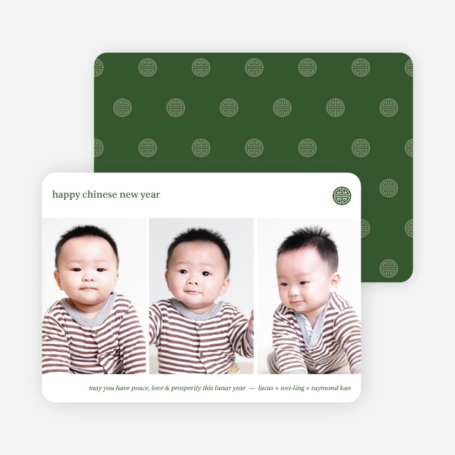 3 Photo Chinese New Year Cards - Green