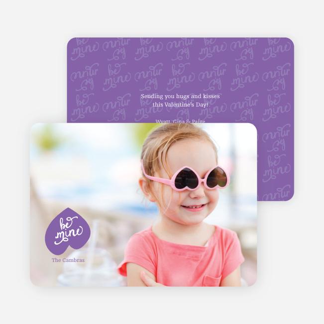 Be Mine Script Valentine's Day Cards - Purple