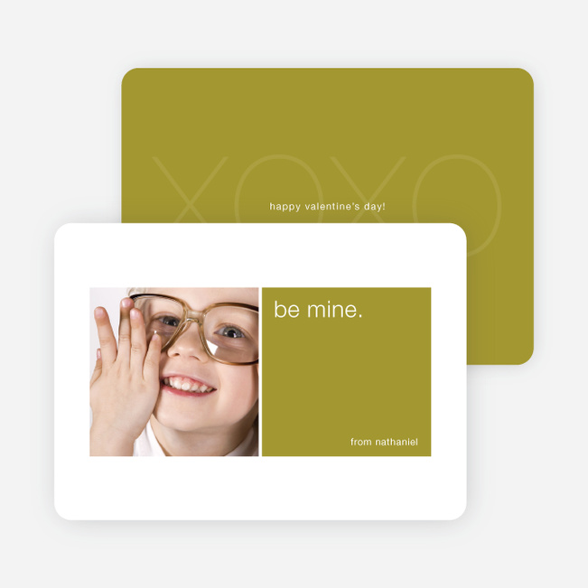 Be Mine Valentine's Day Signature Card - Olive