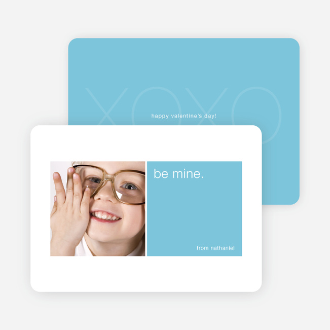 Be Mine Valentine's Day Signature Card - Baby Blue
