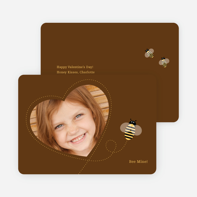 Bee Mine Heart Shaped Photo Card - Espresso