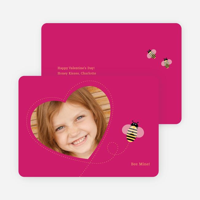 Bee Mine Heart Shaped Photo Card - Magenta