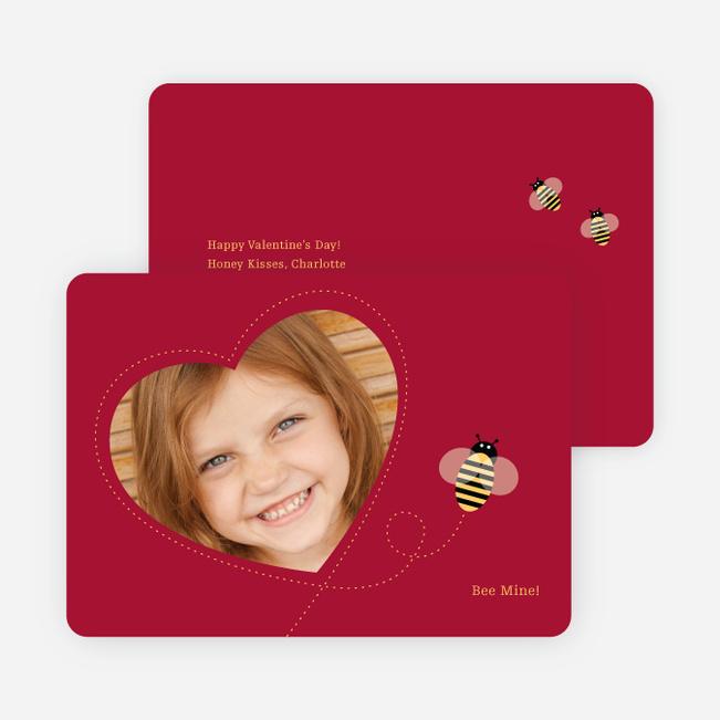 Bee Mine Heart Shaped Photo Card - Crimson