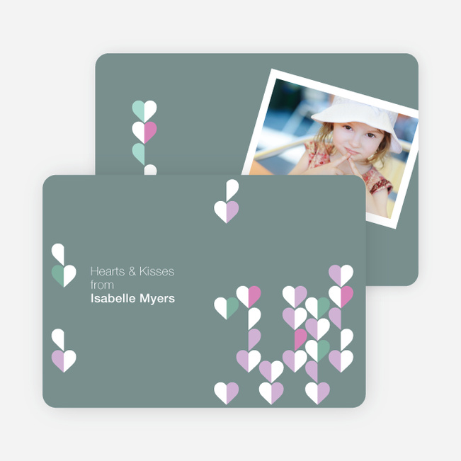 Dangling Hearts Valentines Day Photo Cards - Taupe