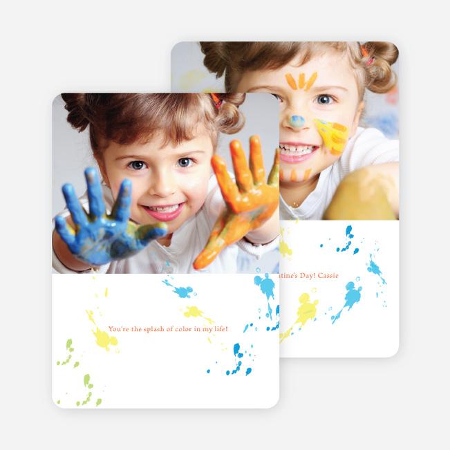 Finger Paint Valentine's Day Photo Card - Modern Orange