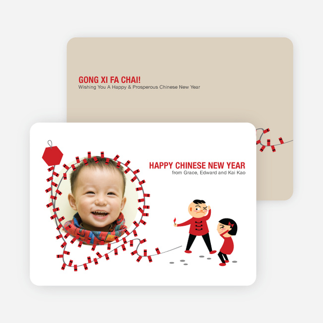 Firecracker Chinese New Year Photo Cards - Fire Engine Red