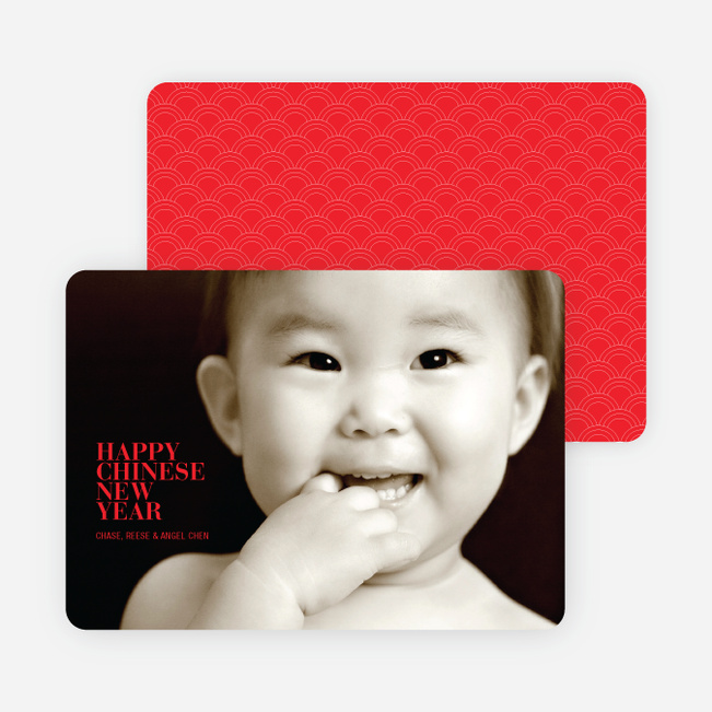 Happy Chinese New Year Simple, Modern Photo Card - Tomato Red