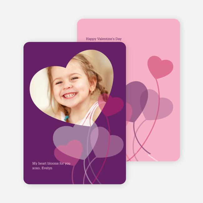 Heart Shaped Balloon Cards for Valentine's Day - Amethyst