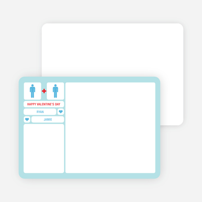 His + Her Valentine's Day Note Cards - Blue Cream