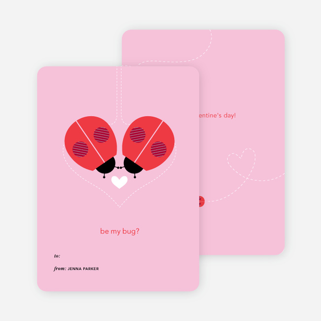 Ladybug Valentine's Day Cards - Pink