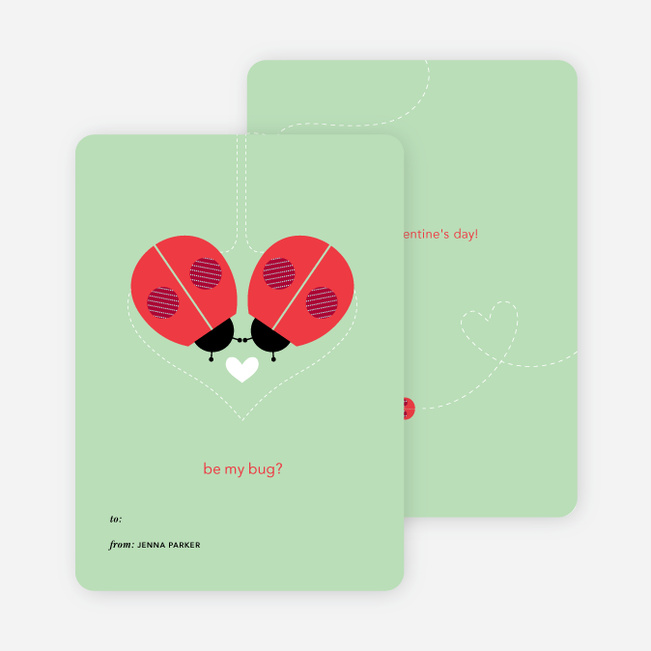 Ladybug Valentine's Day Cards - Green