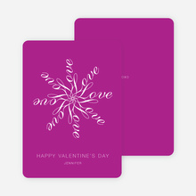 Love Flower Personalized Note Cards - Magenta