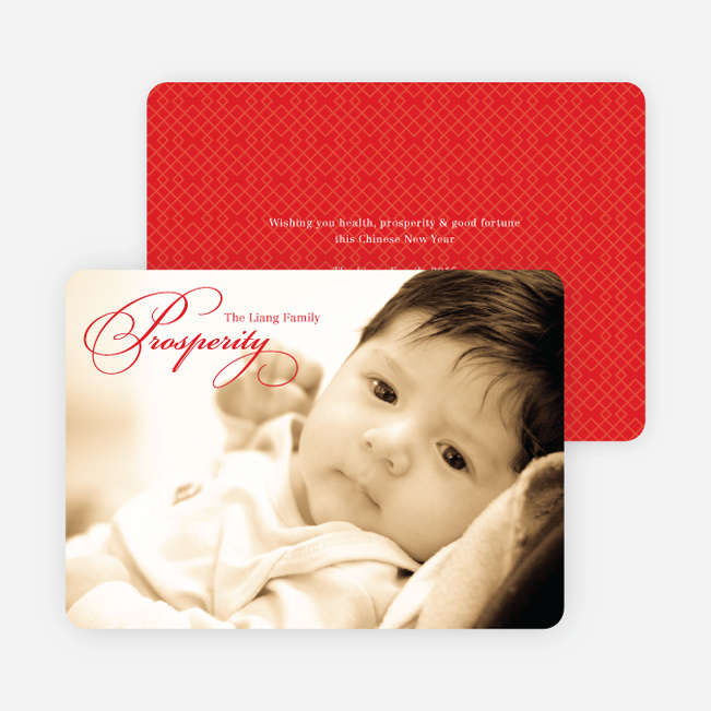 Prosperity Chinese New Year Cards - Red