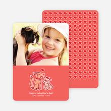 Puppy Love Valentine's Day Cards - Coral