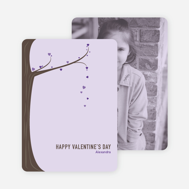 Tree of Love Unique Valentine's Day Cards - Purple