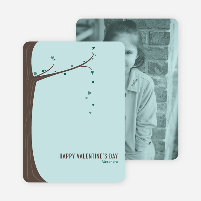 Tree of Love Unique Valentine's Day Cards - Blue