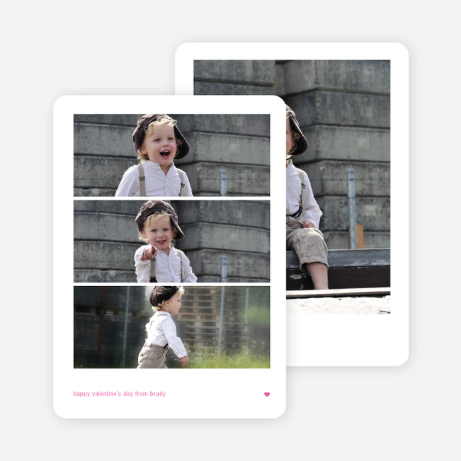 Triple Stack Valentine's Day Photo Cards - Pink