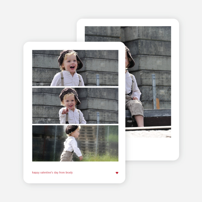 Triple Stack Valentine's Day Photo Cards - Red