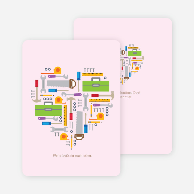 We're Built for Each Other Valentine's Day Cards - Pink