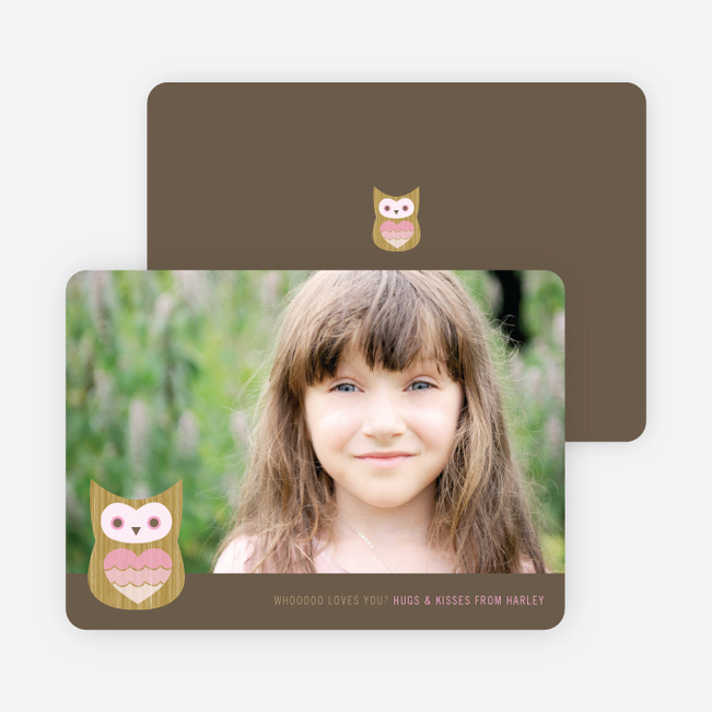 Whooo Loves You Owl Photo Cards - Cotton Candy