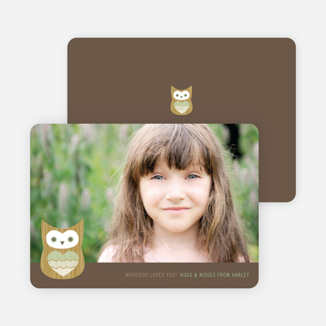 Whooo Loves You Owl Photo Cards - Pistachio