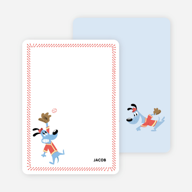 Babe Woof: Baseball Themed Stationery - Persimmon