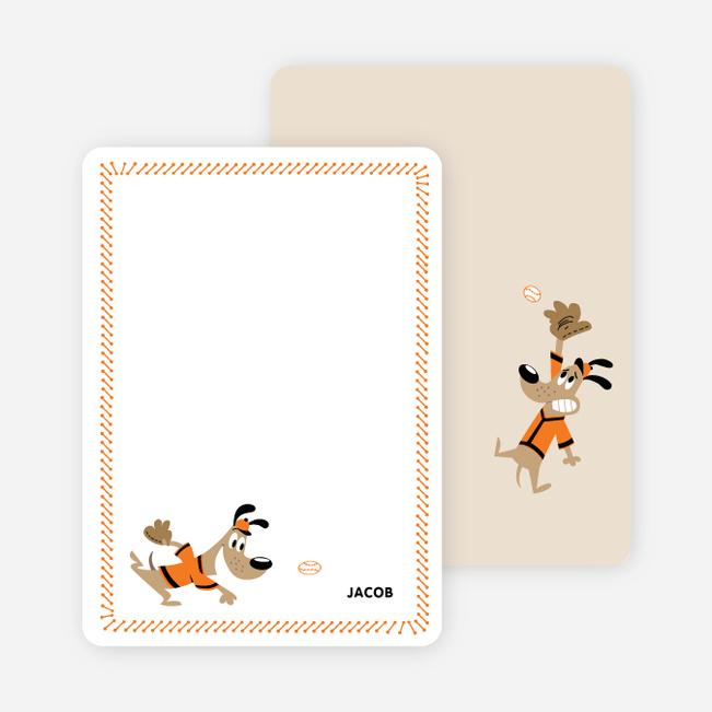 Babe Woof: Baseball Themed Stationery - Papaya